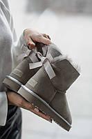 Зимние женские угги с натуральным мехом UGG Mini Baley Bow Gray серые, фото 1