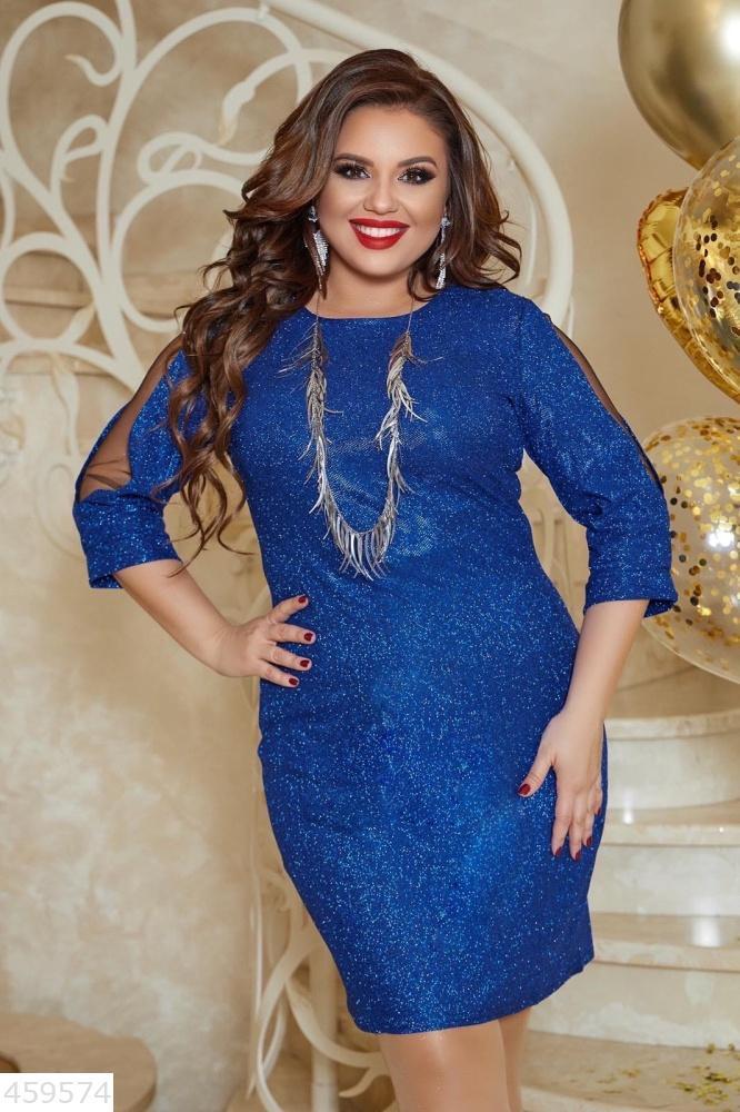Шикарное праздничное платье блестки батал большие размеры