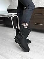 Зимние женские угги с натуральным мехом UGG Bailey Button Black замша чёрные, фото 1