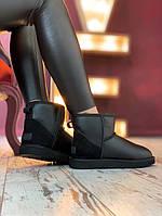 Зимние женские угги с натуральным мехом UGG Classic II Mini Black кожа (замшевый задник) чёрные, фото 1