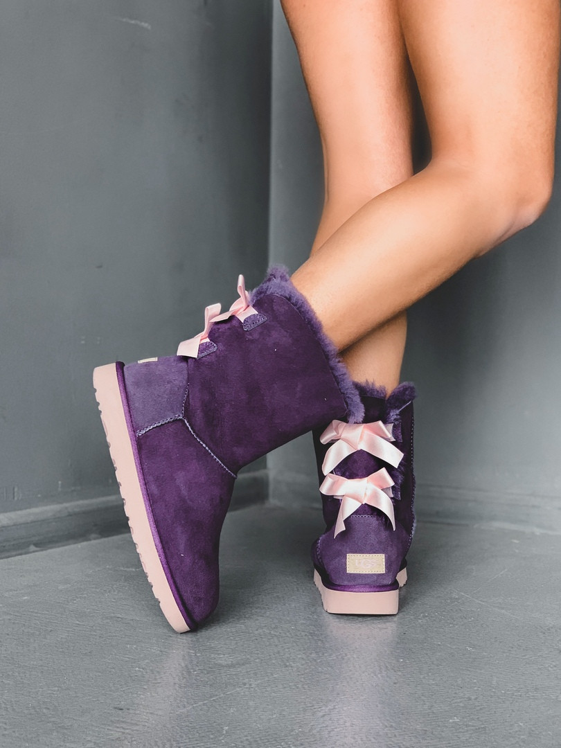 Зимние женские угги с натуральным мехом UGG Bailey Bow Short Violet фиолетовые