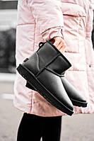 Зимние женские угги с  мехом Ugg Classic Short Metallic Black Replica  чёрные
