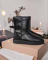 Зимние женские угги с натуральным мехом UGG Black High Leather кожа чёрные, фото 1