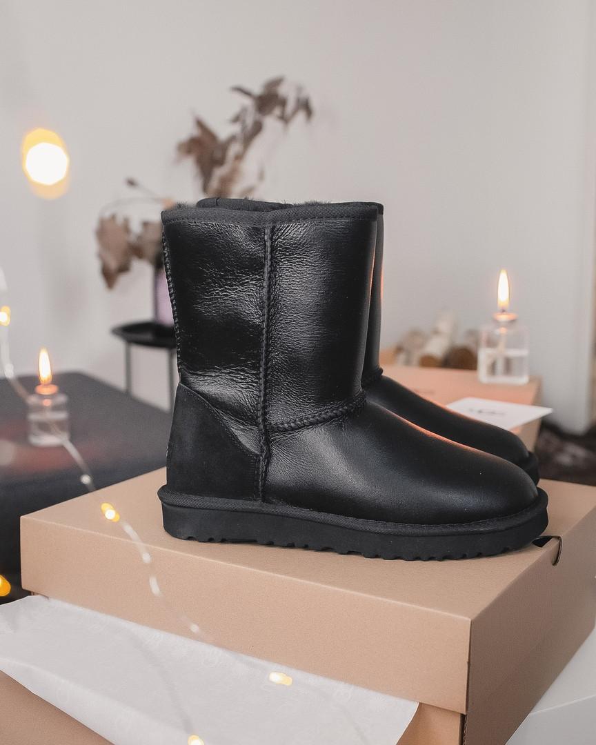 Зимние женские угги с натуральным мехом UGG Black High Leather кожа чёрные