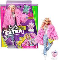Кукла Барби Модница Экстра Модная Блондинка Barbie Extra Fluffy Pink Jacket Doll with Pet Unicorn-Pig