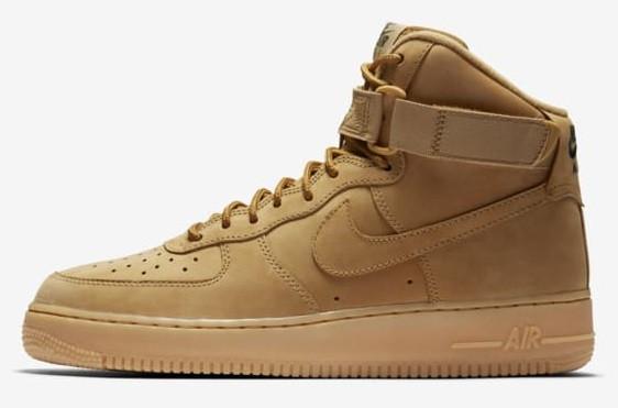 Мужские зимние кроссовки Nike Air Force 1 High (Premium-class) песочные с мехом