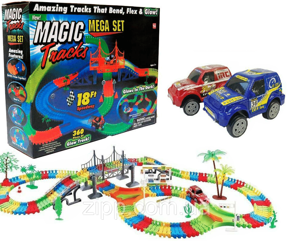 Детский светящийся гибкий трек Magic Tracks 360 деталей на 2 машинки   Детский гоночный трек