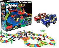 Детский светящийся гибкий трек Magic Tracks 360 деталей на 2 машинки | Детский гоночный трек