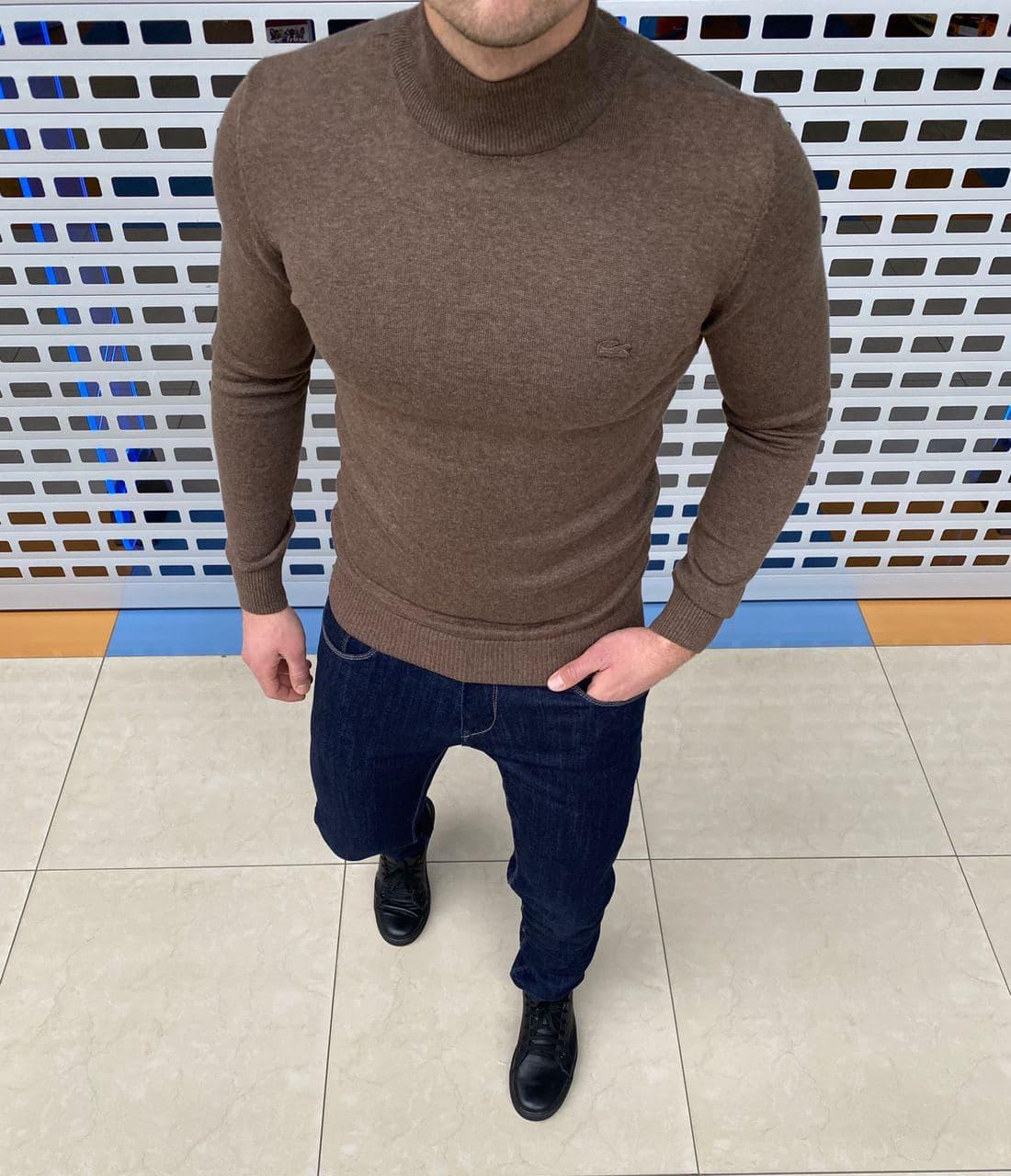 Мужской гольф Lacoste H1115 коричневый