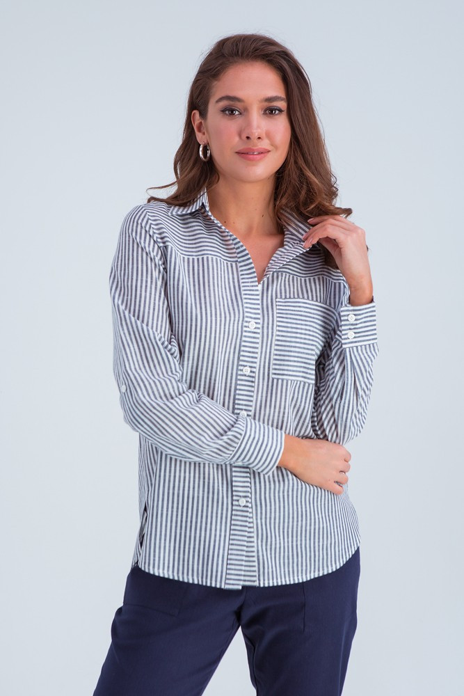 Рубашка женская  Аврора серый ср.полоска
