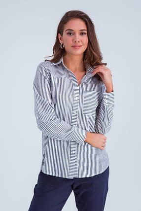Рубашка женская  Аврора серый ср.полоска, фото 2