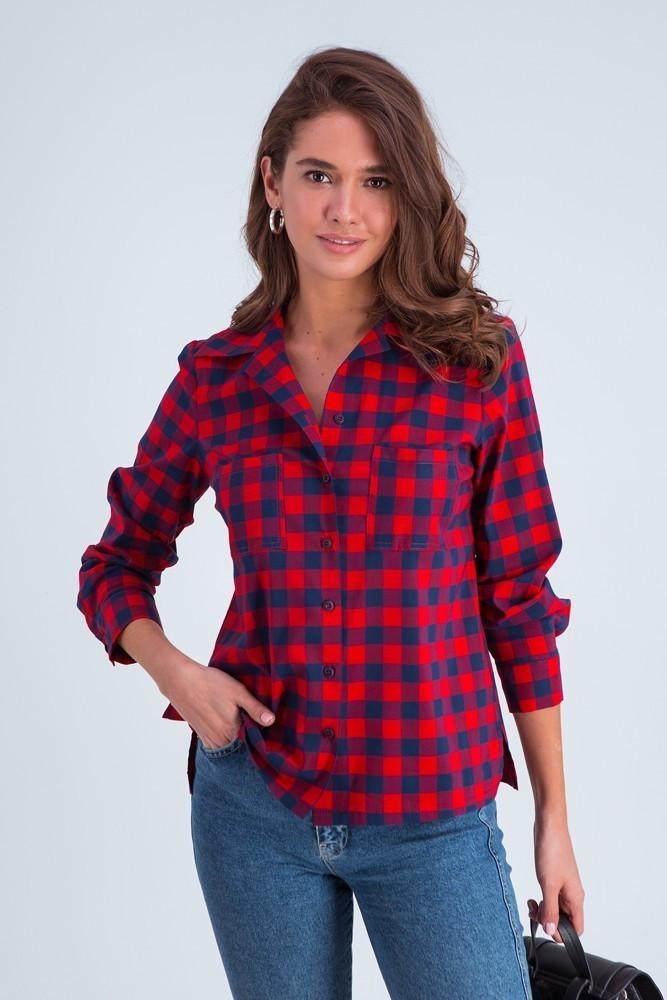 Рубашка женская  Агата клетка красно-синяя