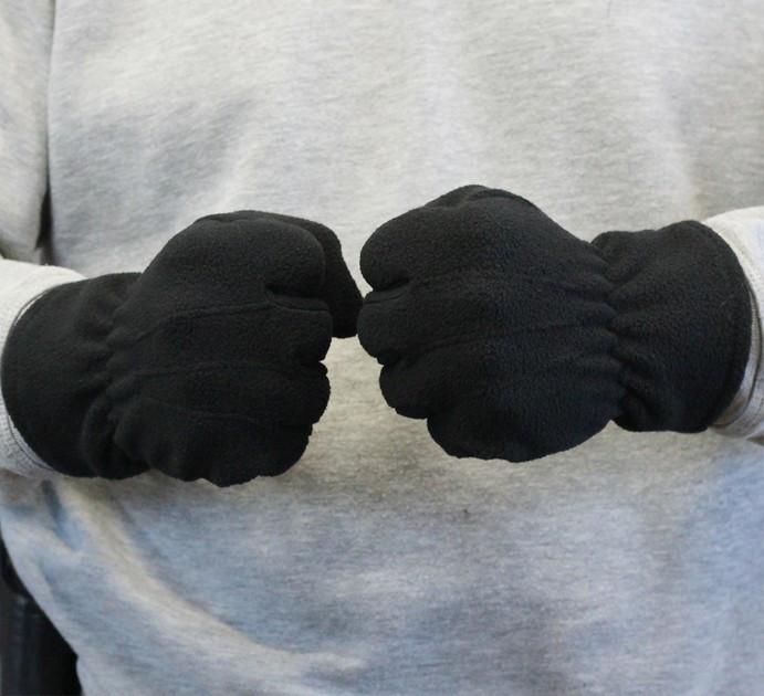 Рукавички флісові зимові, чорні Польські дуже щільні