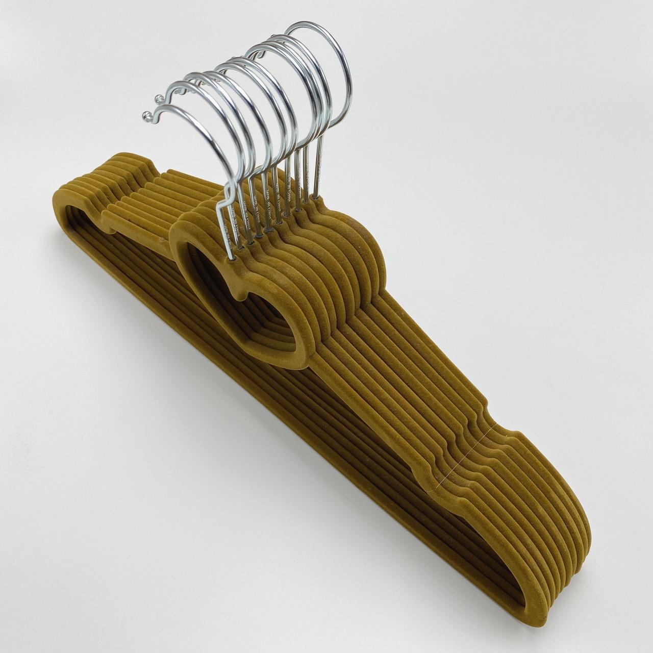 Бархатные плечики для одежды 10 шт. (флокированные, велюровые) коричневого цвета сердце