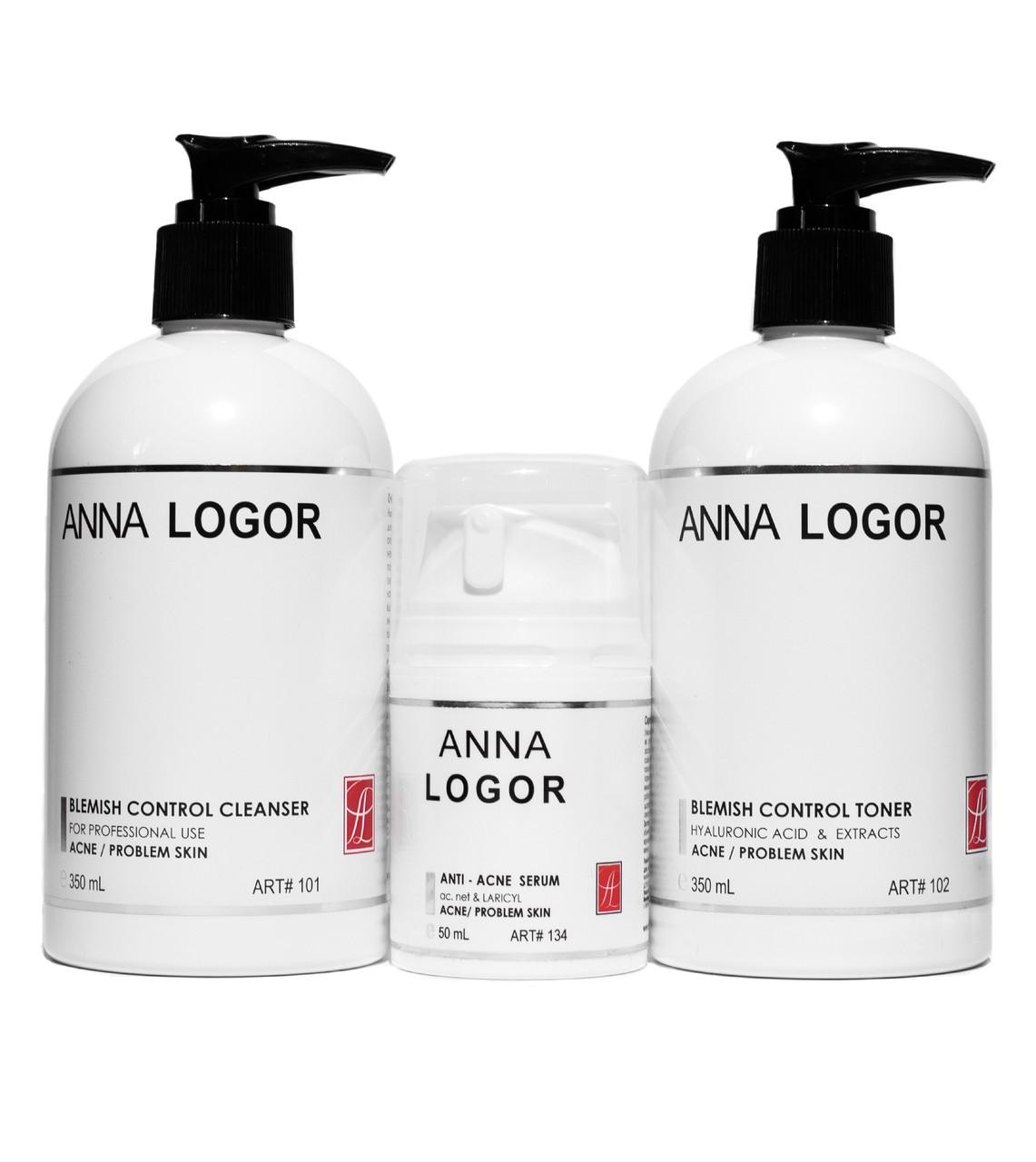 Набор косметики Базовый анти Акне уход Anna LOGOR для проблемной кожи лица Art.101 102 134