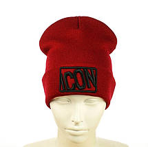 """Шапка """"ICON"""" Червона c чорними літерами - молодіжна шапка-лопата з відворотом, фото 3"""