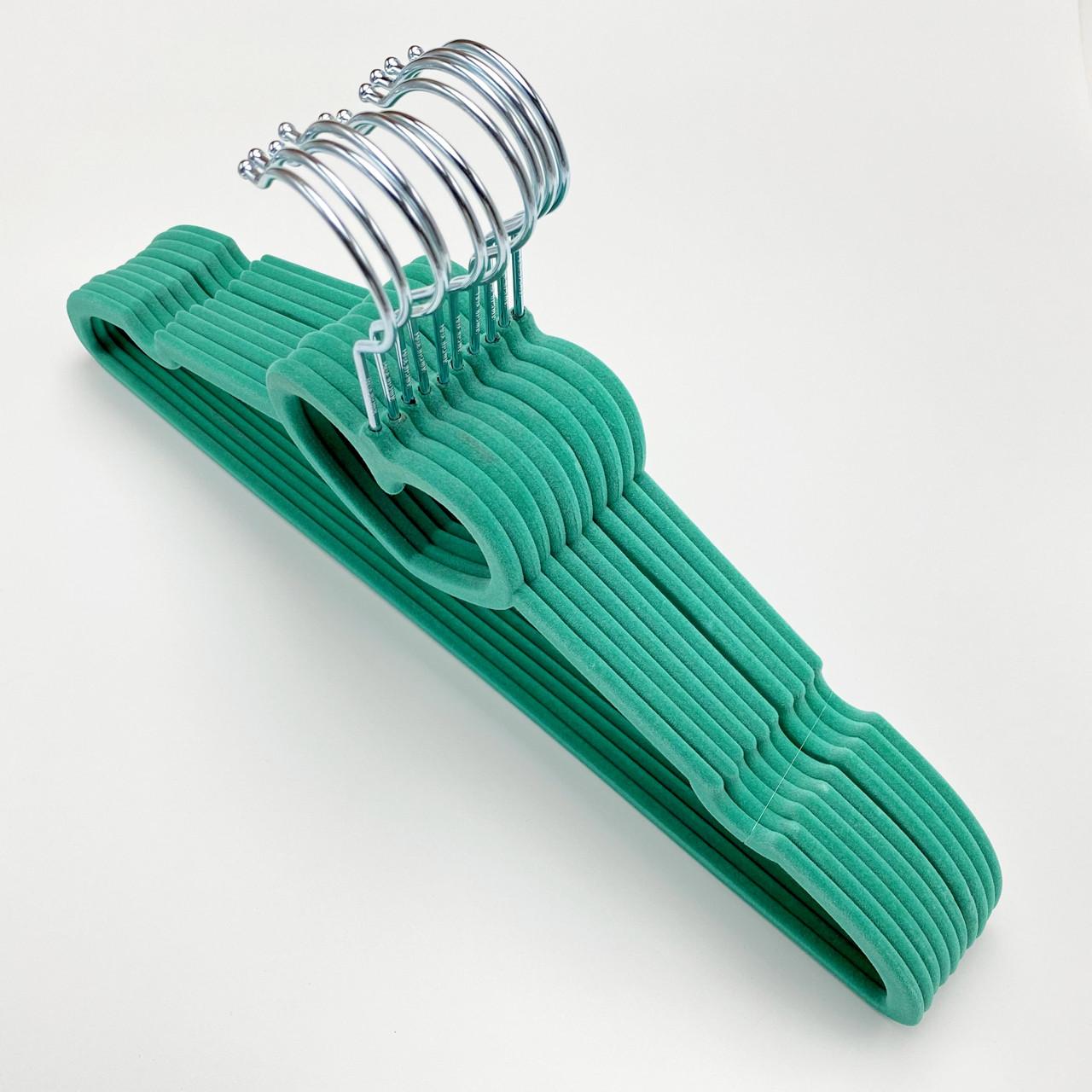 Бархатные плечики для одежды 10 шт. (флокированные, велюровые) бирюзового цвета сердце