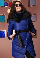 Зимнее стеганное пальто на синтепоне с меховым воротником