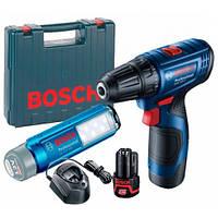 Аккумуляторная дрель-шуруповерт Bosch GSR 120-LI + GLI 12V-300 + GAL 1210 CV + 2 акб GBA 12 В/2Ач + чемодан
