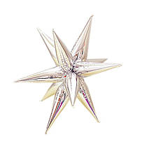 Фольгированный составной шар - звезда двенадцатиконечная, ежик маленький -  серебро