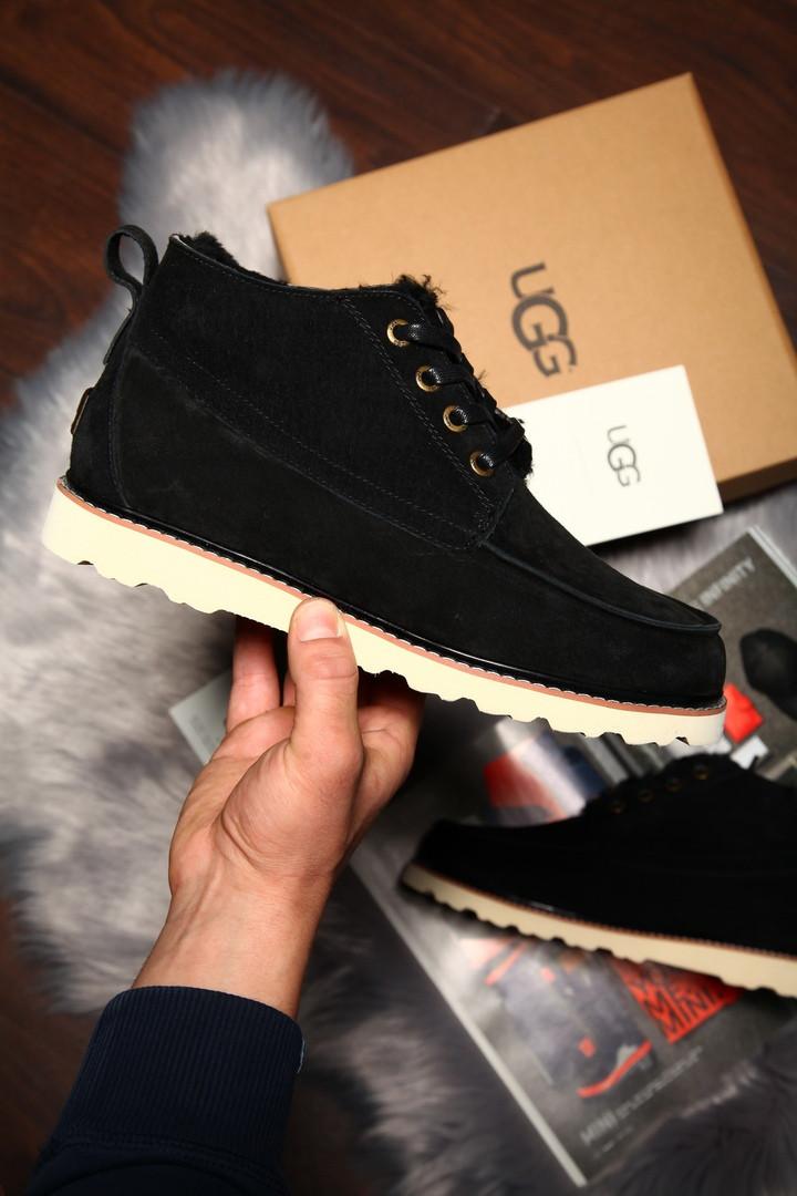 Угги мужские UGG David Beckham Boots замша чёрные на белой подошве. Размеры (41,42,43,44,45)