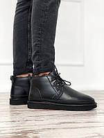 Угги мужские UGG Neumel Black Leather, кожа чёрные. Размеры (41,42,43,44,45), фото 1