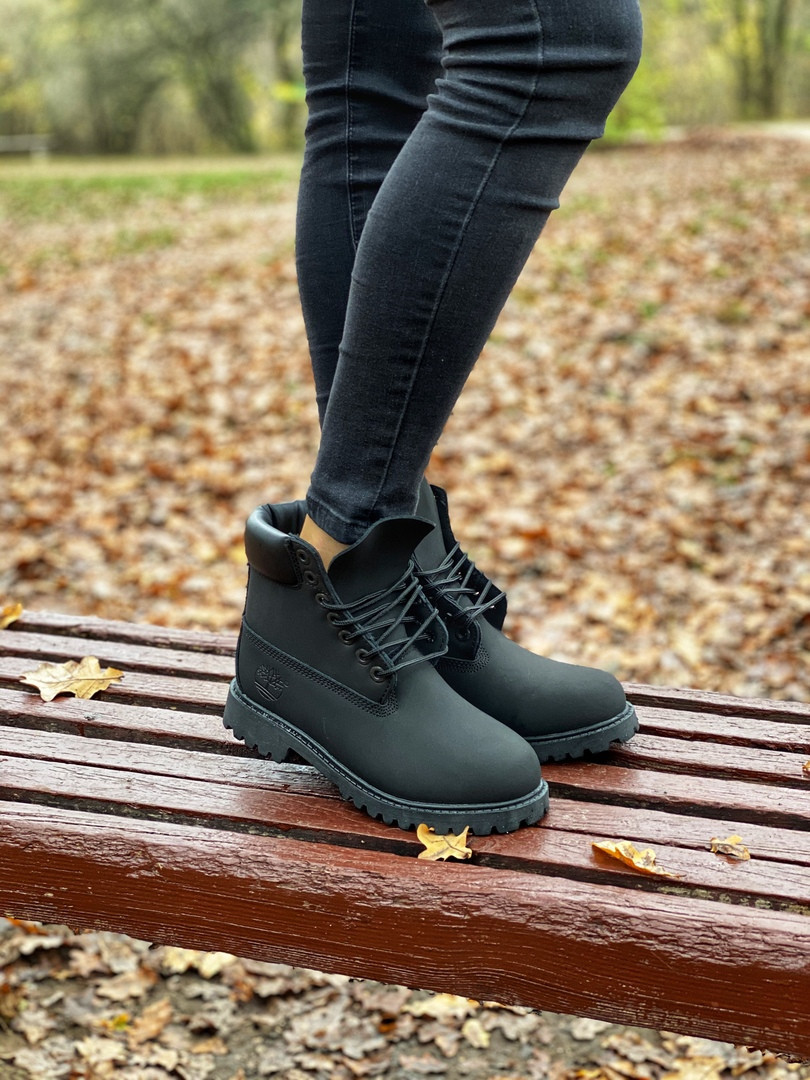 Мужские ботинки Timberland Premium full black (термо) осень/зима, чёрные. Размеры (36,37,38,39,40,41,42,43,44)