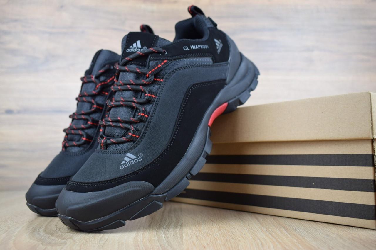 Мужские зимние кроссовки Adidas Climaproof Black (на флисе), чёрно-красные без полосок. Размеры (44,45,46)