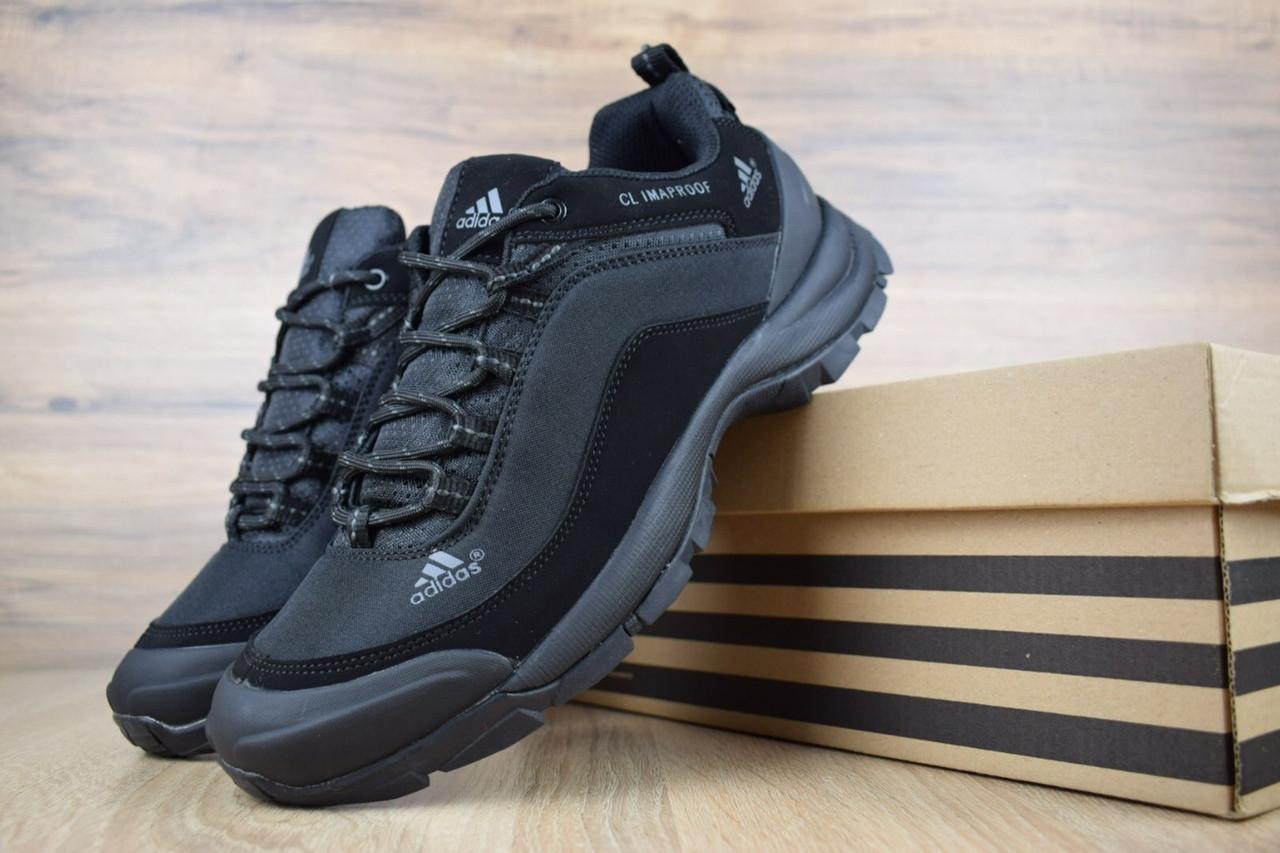 Мужские зимние кроссовки Adidas Climaproof Black (на флисе), чёрные без полосок. Размеры (42,44,45)
