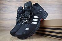 Мужские зимние кроссовки Adidas Climaproof High Black (на меху), чёрные с полосками. Размеры (41,42,43,44,45), фото 1