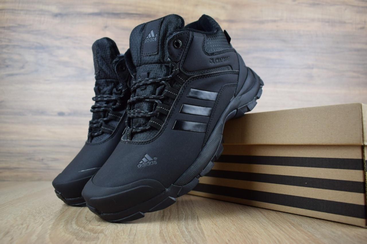 Мужские зимние кроссовки Adidas Climaproof High Black (на меху), чёрные. Размеры (41,42,44,45)