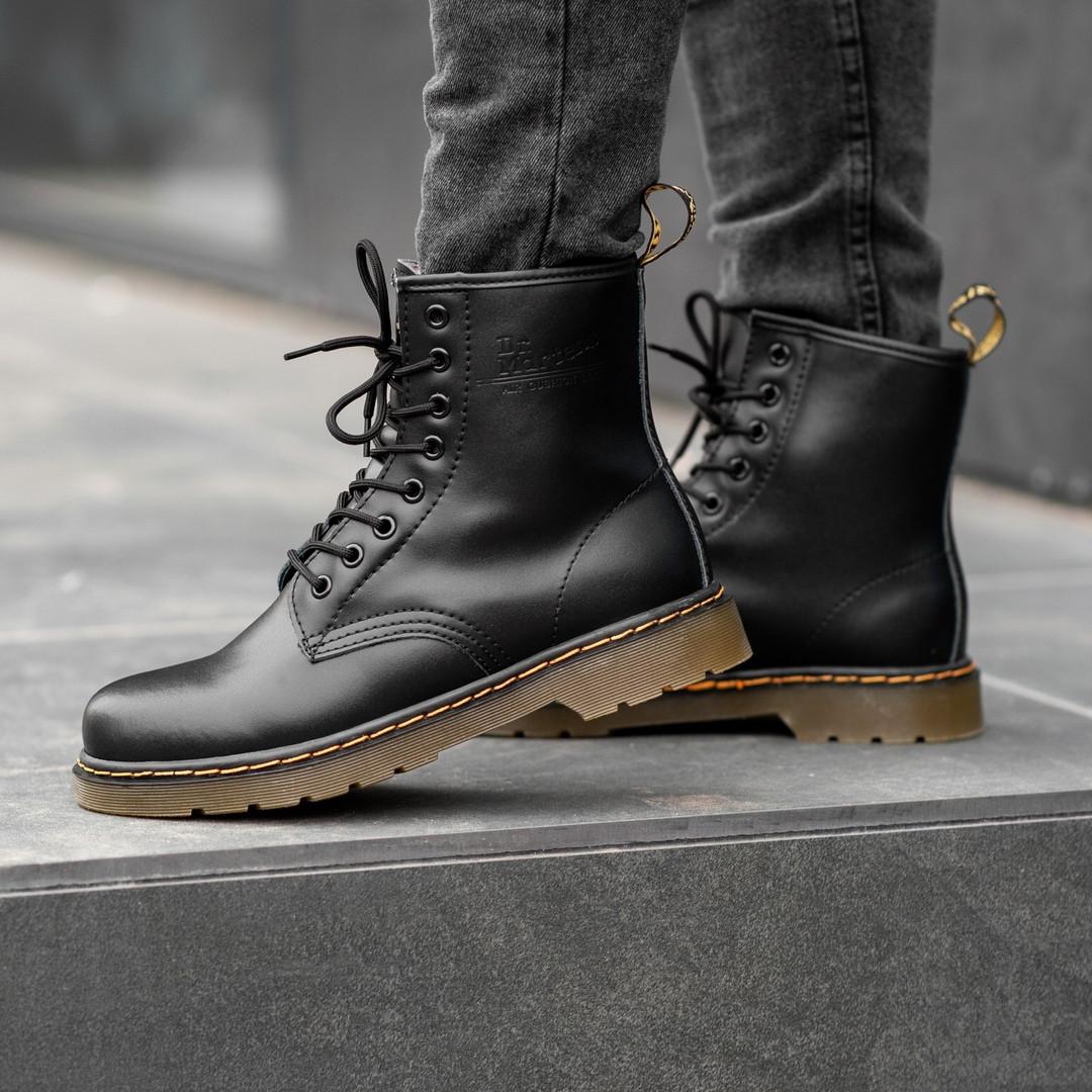 Мужские ботинки Dr.Martens Black Classic Winter зима, чёрные. Размеры (36,37,38,39,40,41,42,43,44,45)