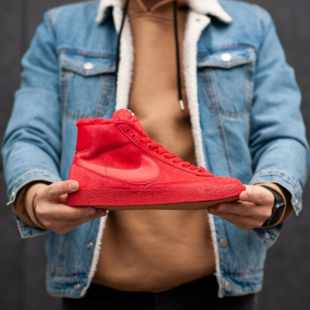 Мужские зимние кроссовки Nike Blazer Red (на меху), красные. Размеры (40,41,42,43,44)