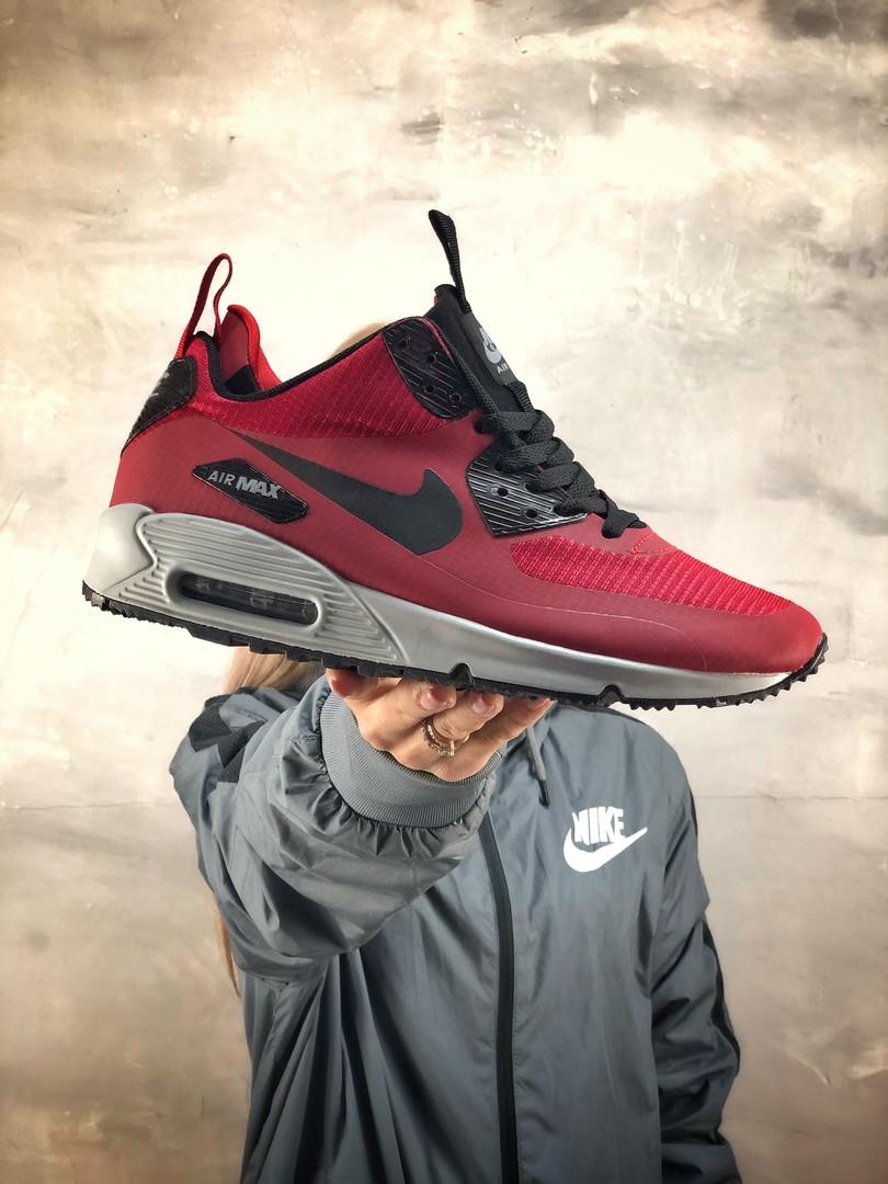 Мужские зимние кроссовки Nike Air Max 90 Ultra Mid Red Winter (на меху), красные. Размеры (40,41,42,43,44,45)