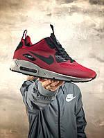 Мужские зимние кроссовки Nike Air Max 90 Ultra Mid Red Winter (на меху), красные. Размеры (40,41,42,43,44,45), фото 1
