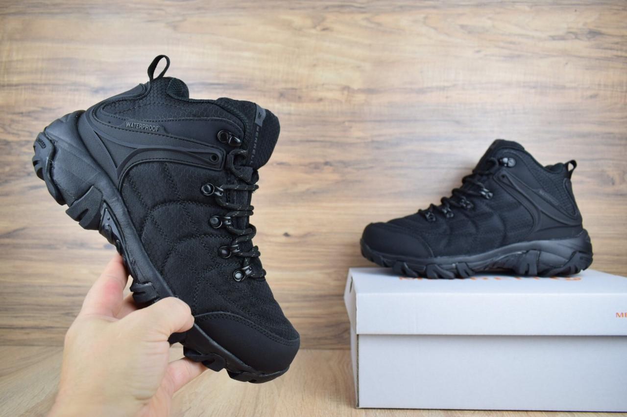 Мужские зимние ботинки Merrell High Black (на меху), чёрные. Размеры (41,42,43,44,45)