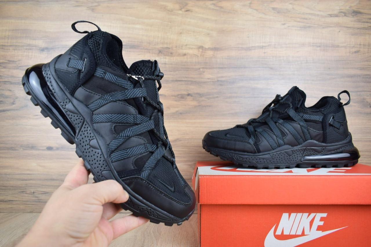 Кроссовки мужские зимние Nike Air Max 270 Black (на меху), чёрные. Размеры (42,43,44,45)