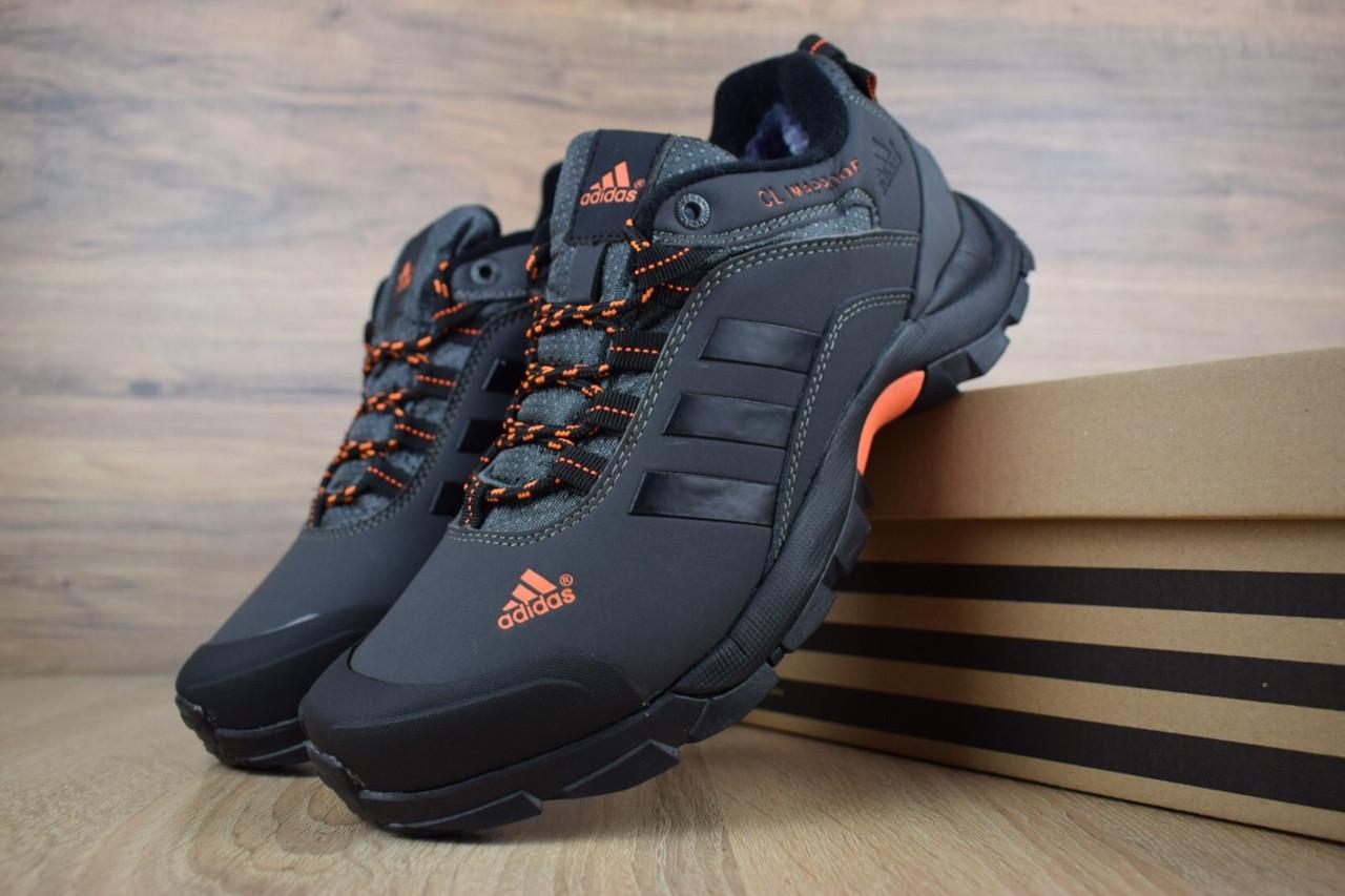 Мужские зимние кроссовки Adidas Climaproof Gray Orange (на меху), чёрно-оранжевые. Размеры (41,42,43,44,45)