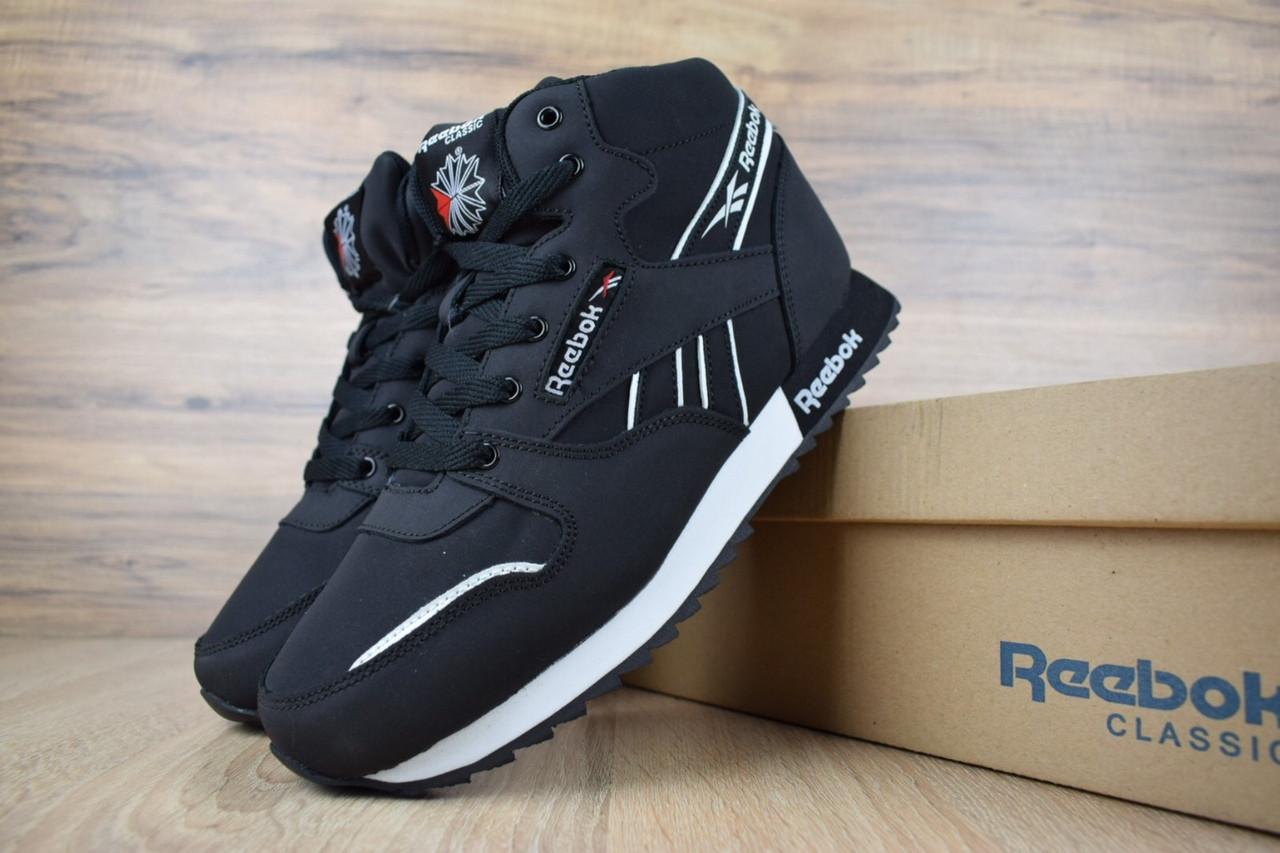Кроссовки мужские Reebok Classic High Black (на меху) зима, чёрные. Размеры (41,42,43,44,45,46)