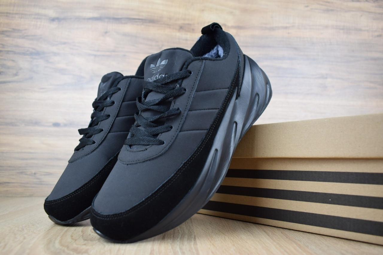 Мужские кроссовки Adidas Shark Black Winter (на меху) зима, чёрные. Размеры (41,42,43,44,45,46)