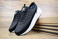 Мужские кроссовки Adidas Shark Black White Winter (на меху) зима, чёрно-белые. Размеры (43,44,45,46), фото 1