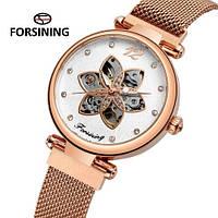 Часы наручные женские механические с автоподзаводом скелетоны Forsining 1171 Cuprum-White 1059-0026