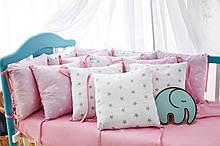 Защита в кроватку   12 подушек  30х30см Для девочек, Бело-розовый