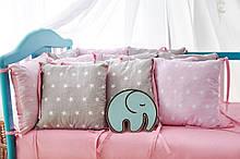 Защита в кроватку   12 подушек  30х30см Для девочек, серо-розовый