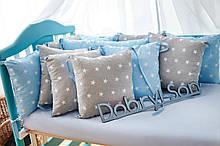 Защита в кроватку   12 подушек  30х30см Для мальчиков, Серо-голубой