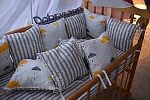 Защита в кроватку   12 подушек  30х30см Унисекс, серый
