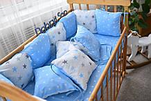 Защита в кроватку   12 подушек  30х30см Для мальчика, Бело-голубой большие звёзды