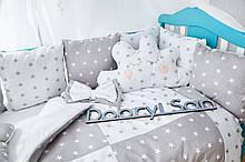 Защита в кроватку   12 подушек  30х30см Унисекс, Серо-белый