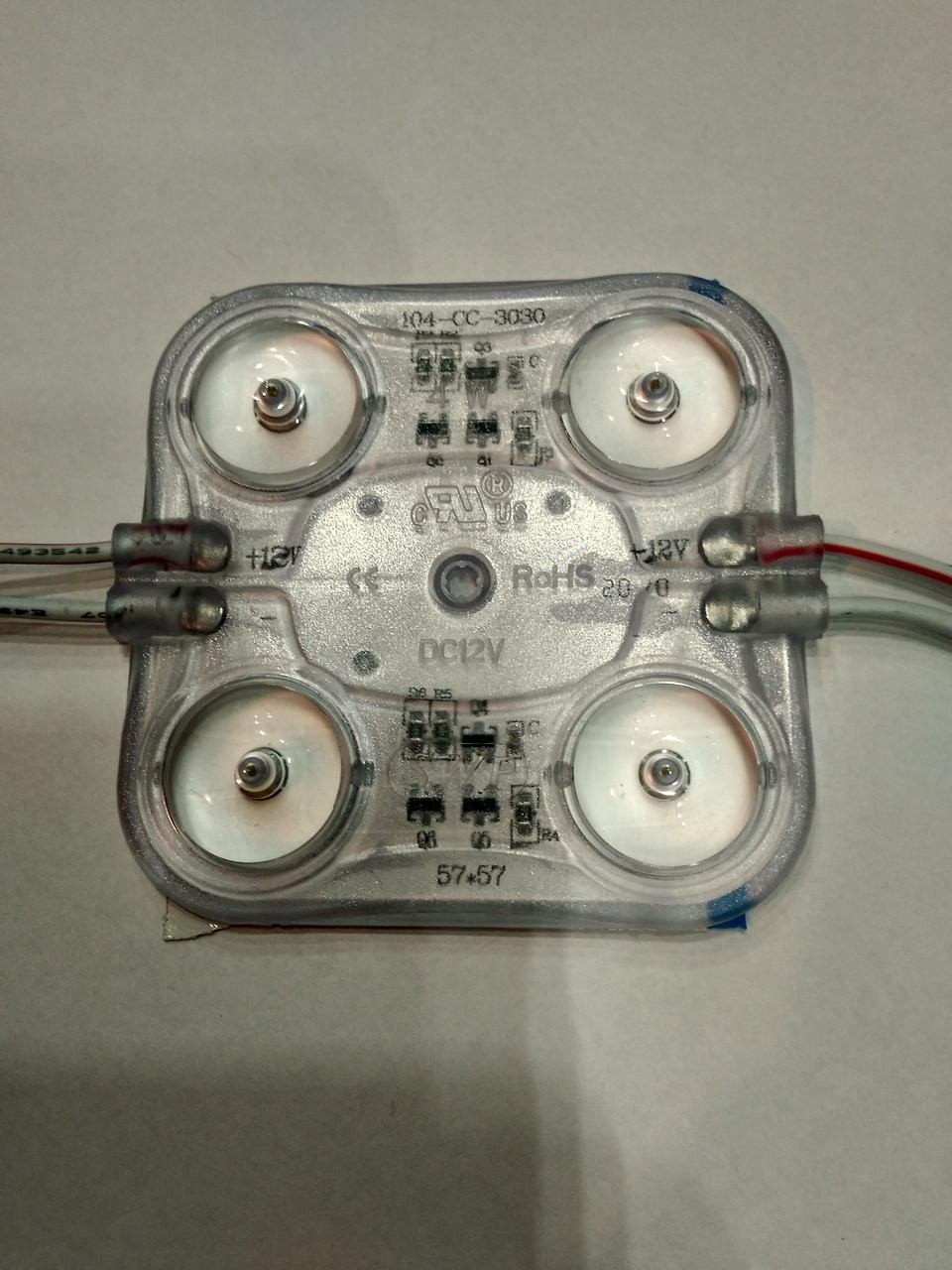 Потужний світлодіодний модуль 4 Вт 12 вольт 380лм 6500К з лінзами IP67
