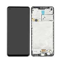 Дисплей (LCD) Samsung A217 Galaxy A21s (2020) TFT з тачскріном і рамкою, чорний, сервісний оригінал
